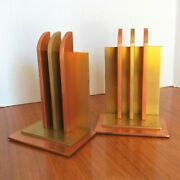 Chase Brass And Copper Co. Bookends Machine Age Art Deco Era Original And Nice