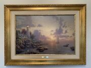 Thomas Kinkade Sea Of Tranquility Limited S/n Canvas Gold Frame 18 X 27 Painting