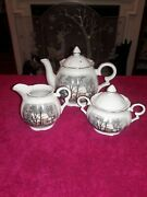 Avon Currier And Ives Christmas Teapot And Lid- Sugar Bowl And Creamery Vintage -1977