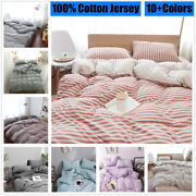 100cotton Striped Duvet Cover Set Knitting Jersey Fitted Sheet With Pillow Case