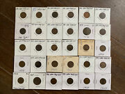Lot Of 30 Indian Head Cents - Full Run From 1880 To 1909