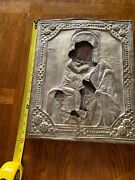 Motherandchild, Russian Antique Orthodox Icon Silver On Wood Painted Plank 19th C.