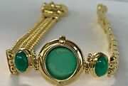 14k Italy Solid Gold And Jade Cameo Womenandrsquos Stampato 7.5 Inch Bracelet 22.3 Gr