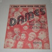 1934 I Only Have Eyes For You - Dames Vintage Sheet Music Dick Powell