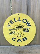 Yellow Cab Taxi Round Vintage Style Metal Sign 1950s