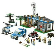 New Lego City Forest Police Station 4440 W/ Brown Bear Helicopter Truck Suv Atv