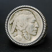Us 1913 1934 Indian Head Buffalo Nickel Coin 925 Sterling Silver Ring New
