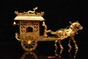 9.8 Chinese Antique Dynasty Bronze 24k Gilt Horse People Dragon Flower Statue