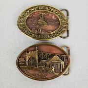 Lot Of 2 Vintage Boonville Missouri Mo Limited Edition Belt Buckles 1989 And 1990