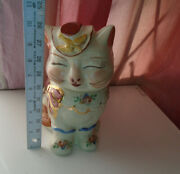 Vintage Usa Shawnee Pottery Puss-n-boots Cat Cookie Jar With Gold Trim