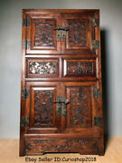 32antique Old Chinese Dynasty Huanghuali Wood Carving 2 Drawer Cupboard Cabinet