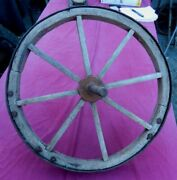 Antique 19th Century Wooden-spoked Wheel Barrow Wheel With Neat Repairs