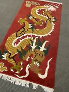 Spectacular Vintage Dragon Nepal Area Rug Wool A+ 3andrsquo X 6andrsquo Collectible Rare