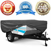 Folding Camping Travel Trailer Storage Cover Rv Accessory Fits 8'-10', Grey