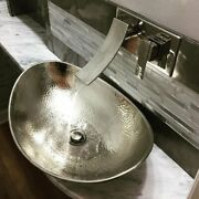 Metal Vessel Bathroom Sink Oval Shape Silver Finish Hammered Nickel Hand Crafted