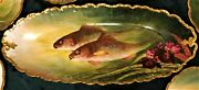 Limoges Large Fish Set Beautiful Antique 10 Plates And Master Plate All Signed