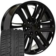 22x9 Wheels And Tires Fit Ford Trucks F150 Style Black Rims W/ironman 3918 Oew