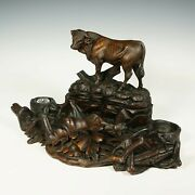 Antique Swiss Black Forest Hand Carved Wood Figural Bull Inkwell Large Inkstand