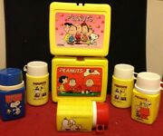 Lot Vintage 1950s 60s Vinyl Peanuts Gang Lunchbox Thermos Snoopy Charlie Brown