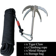 Grappling Hook Claw Survival Tool Climbing Fishing With 20m/65ft Auxiliary Rope