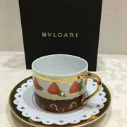 Bvlgari Porcelain Tea Cup And Saucer Dolci Deco Strawberry Motif Rosenthal In Box