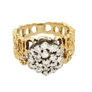 18carat Yellow Gold And Platinum 0.50ct Diamond Fancy Cluster Ring Size L10x12mm