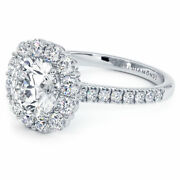 2.55ctw Round Brilliant Floral Halo Moissanite And Diamond Engagement Ring 18k ...