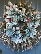 Silver Poinsettia And Christmas Holiday Winter Wreath, Wedding And Front Door Wreath