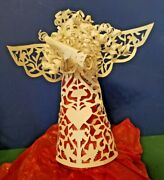 Vintage Hand Made Paper Quilled White Paper Angel Tree Topper - 8 Tall