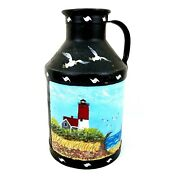 Antique 1930s Lighthouse Oil Painting On Old Cream Can By Jean Birch Metal 13+