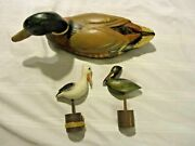 Vintage Wood Mallard Duck Decoy 15and039and039 And Two Wood Pelican And Gull On Pilings