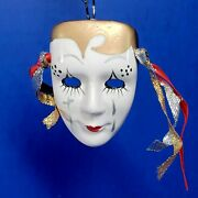 Hand Painted Ceramic Mask Ornament White Gold Black Silver Red 3 X 2 Inch