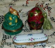 3 Limoges France Trinket Box - Egg And Perfume Bottle Partridge In Pear Tree