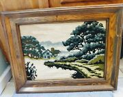 Vintage Cross Stitch Country Scene Wood Framed Photo Wall Decor Rustic Farmhouse