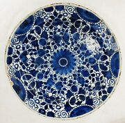 Large Antique 17th Or 18th C. Dutch Delft Charger Cobalt Blue And White Floral