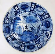 Large Antique 17th Or 18th C. Dutch Delft Charger Peacock Design Blue And White