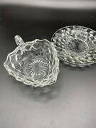 Vintage Glass Fostoria American Triangle Nappy Dish Handle And Saucer Cubist