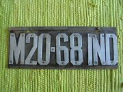 Pre-state 1910 Indiana License Plate In Tag M20-68-ind
