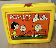Peanuts Plastic Lunch Box Without Thermos 1965 Vintage Snoopy Yellow
