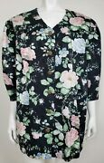 More Jazz Womens Petites Light Coat Size 22wp 3/4 Sleeve Black Floral Casual