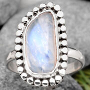 Natural Rainbow Moonstone - India 925 Sterling Silver Ring S.8 Jewelry 1861