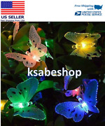 12 Led Solar Powered Butterfly Fiber Fairy String Lights Lamps Holiday Deco