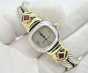 David Yurman Sterling Silver And 14k Yellow Gold Watch With Double Cable Bracelet