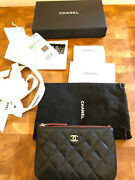 Classic O-case Pouch Wallet Black Caviar Champagne Light Gold Hardware