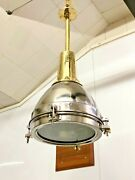 Old Antique Vintage Large Stainless Steel And Brass Ceiling/hanging Light Lot Of 5