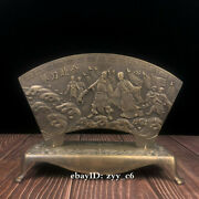 11china Antique Pure Copper Handmade Broadsword Character Story Embossed Screen