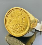 22k Ring Solid Gold Men Jewelry Classic St George Slays The Dragon Design R2176