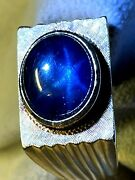 11.75 X 9.8 Mm Natural Deep Blue Star Sapphire Menand039s 14k Gold Ring Size 11