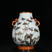 11 Chinese Qing Dynasty Porcelain Yongzheng Famille Rose Bamboo Double Ear Vase