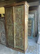 Rustic Farmhouse Armoire, Floral Green Carved Cabinet, Reclaimed Wood Wardrobe